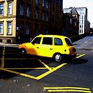 Glasgow - Yellow cab. by Jean-Luc Rollier