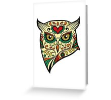Owl Sugar Skull Day of The Dead design Greeting Card