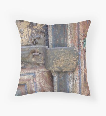 Door enhanced by age Throw Pillow