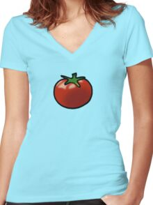 Fresh red juicy tomato Women's Fitted V-Neck T-Shirt
