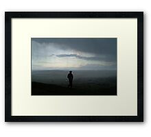 Cold, windy storm over Glastonbury Tor Framed Print