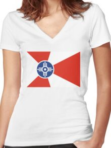 Wichita flag Women's Fitted V-Neck T-Shirt