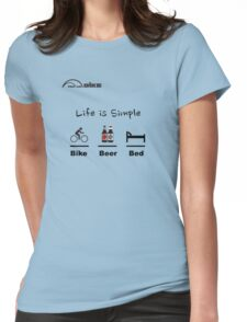 Cycling T Shirt - Life is Simple - Bike - Beer - Bed Womens Fitted T-Shirt