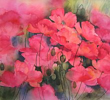 Scarlet Poppies by artbyrachel