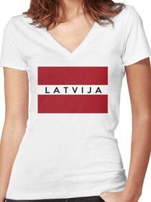flag of latvia Women's Fitted V-Neck T-Shirt