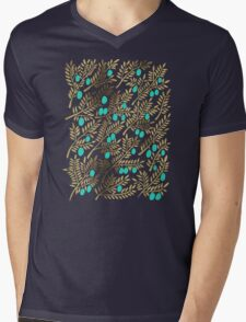Gold & Turquoise Olive Branches Mens V-Neck T-Shirt