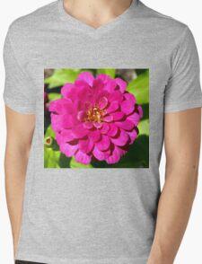Macro Pink Fuschia Zinnia Flower in the Garden Mens V-Neck T-Shirt