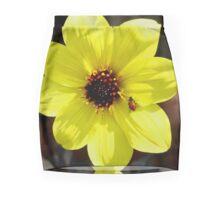 Yellow Dahlia Flower with Ladybug  Mini Skirt