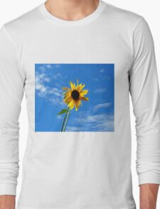 Lone Yellow Sunflower against the Summer Blue Sky Long Sleeve T-Shirt