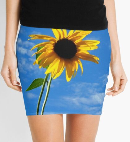 Lone Yellow Sunflower against the Summer Blue Sky Mini Skirt