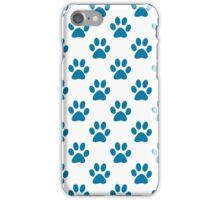 Blue puppy paw prints iPhone Case/Skin
