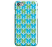 Blue and green butterflies iPhone Case/Skin