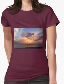 Tiki Beach Caribbean Island Sunset in Fire Orange and Purple Glowing Color T-Shirt