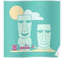 Easter Island Summer Fun Poster