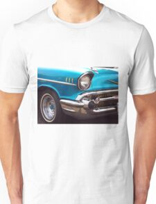 Chevrolet Bel Air Muscle Cart in Blue and Gold Unisex T-Shirt