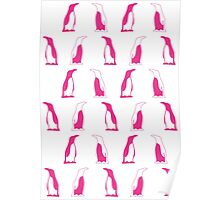Pink Penguin Repeat Pattern Poster
