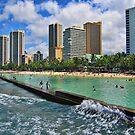 Honolulu, Hawaii - Beach View from Ocean by Allen  Freeman