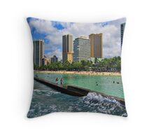Honolulu, Hawaii - Beach View from Ocean Throw Pillow