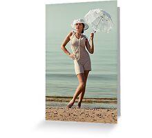 Retro Portrait With Umbrella Greeting Card