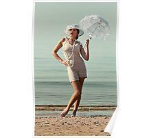 Retro Portrait With Umbrella Poster