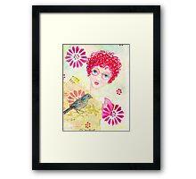 Whimsical Curly Red Head Girl Framed Print