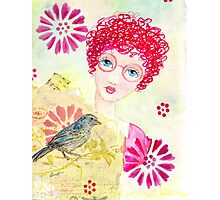 Whimsical Curly Red Head Girl Photographic Print