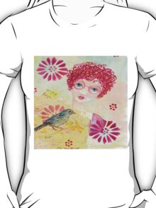 Whimsical Curly Red Head Girl T-Shirt