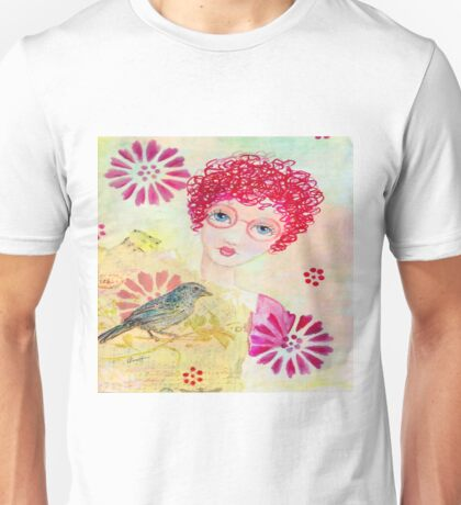 Whimsical Curly Red Head Girl Unisex T-Shirt