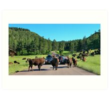 OK Harvey when I count three we rush the blue car! Art Print