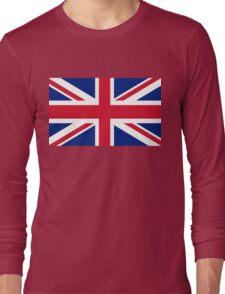 British Union Jack flag - Authentic version (Duvet on white background) Long Sleeve T-Shirt