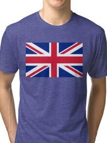 British Union Jack flag - Authentic version (Duvet on white background) Tri-blend T-Shirt