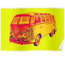 Classic VW 21 window Mini Bus Pop Art Poster