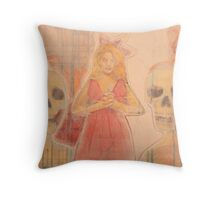 girl whit ghost Throw Pillow