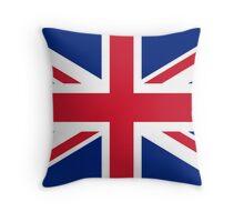 UK Union Jack flag - Authentic version (Duvet, Print on Blue background) Throw Pillow