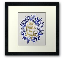 The Future is Bright – Navy & Gold Framed Print