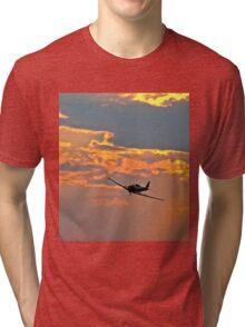 Japanese Zero Fighter Plane at Sunset Tri-blend T-Shirt