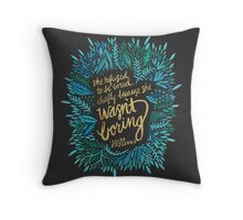 Zelda Fitzgerald – Blue & Gold on Charcoal Throw Pillow