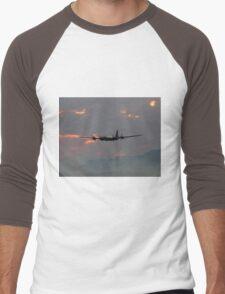B-29 Bomber Plane flying at Sunset Men's Baseball ¾ T-Shirt