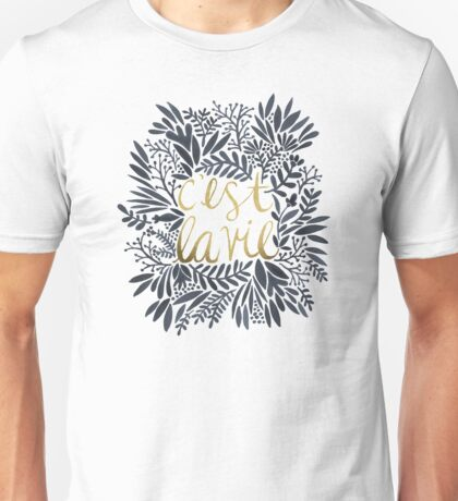 C'est la Vie – Grey & Gold Unisex T-Shirt