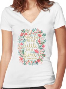 Little & Fierce Women's Fitted V-Neck T-Shirt