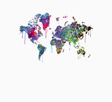 World Map Watercolor Womens Fitted T-Shirt