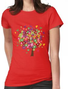 Colorful floral tree Womens Fitted T-Shirt