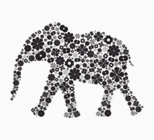 Flower Elephant:Black  by Bianca Stanton
