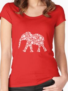 Flower Elephant: White Women's Fitted Scoop T-Shirt
