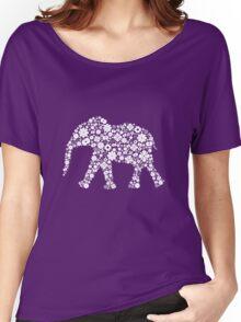 Flower Elephant: White Women's Relaxed Fit T-Shirt