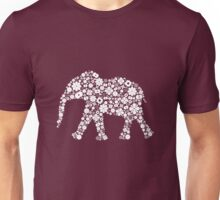 Flower Elephant: White Unisex T-Shirt