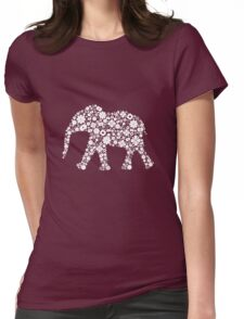 Flower Elephant: White Womens Fitted T-Shirt