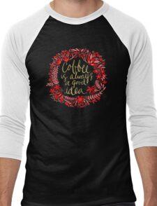Coffee on Charcoal Men's Baseball ¾ T-Shirt