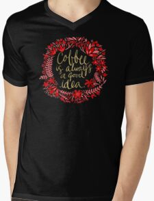 Coffee on Charcoal Mens V-Neck T-Shirt