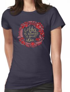 Coffee on Charcoal Womens Fitted T-Shirt